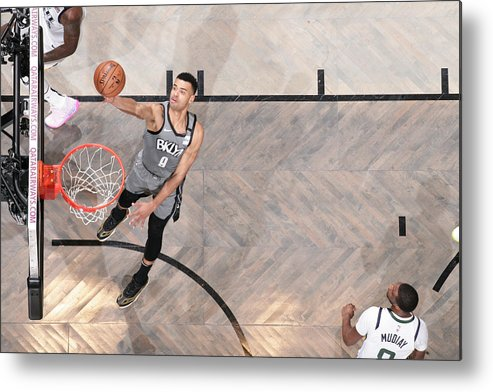 Nba Pro Basketball Metal Print featuring the photograph Utah Jazz v Brooklyn Nets by Nathaniel S. Butler