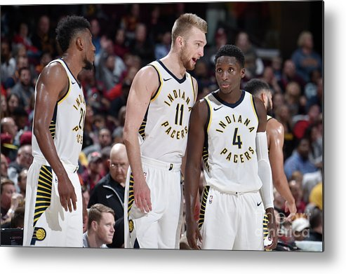 Nba Pro Basketball Metal Print featuring the photograph Victor Oladipo and Domantas Sabonis by David Liam Kyle