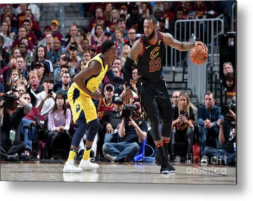 Playoffs Metal Print featuring the photograph Victor Oladipo and Lebron James by David Liam Kyle