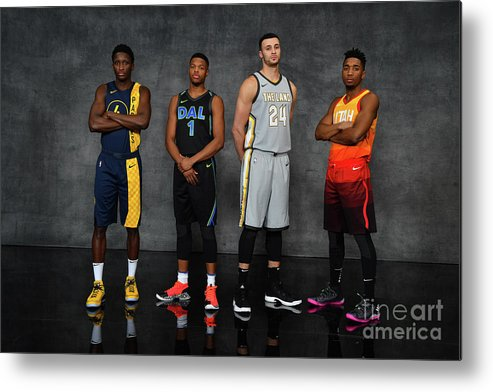 Nba Pro Basketball Metal Print featuring the photograph Victor Oladipo, Larry Nance, and Donovan Mitchell by Jesse D. Garrabrant