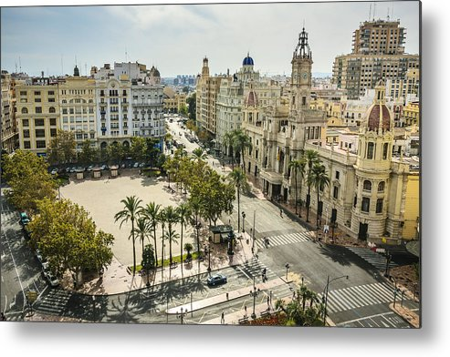 Panoramic Metal Print featuring the photograph View of Valencia city by Gonzalo Azumendi