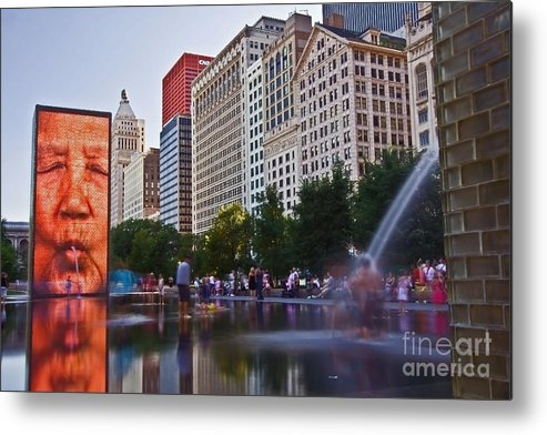 Water Metal Print featuring the photograph Water Fun in Chicago 1 by Sven Brogren