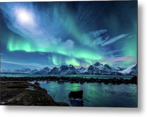 Moon Metal Print featuring the photograph When the moon shines by Tor-Ivar Naess