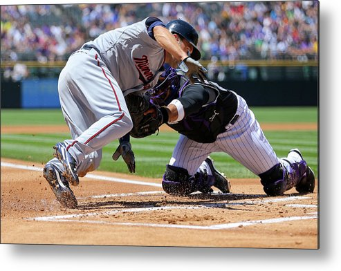 Baseball Catcher Metal Print featuring the photograph Wilin Rosario and Brian Dozier by Justin Edmonds