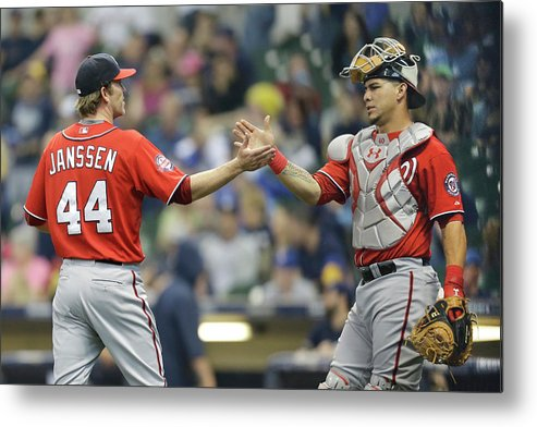 Three Quarter Length Metal Print featuring the photograph Wilson Ramos and Casey Janssen by Mike Mcginnis