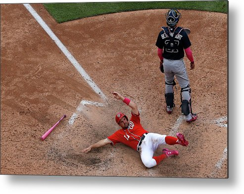 People Metal Print featuring the photograph Wilson Ramos and Ryan Zimmerman by Patrick Smith