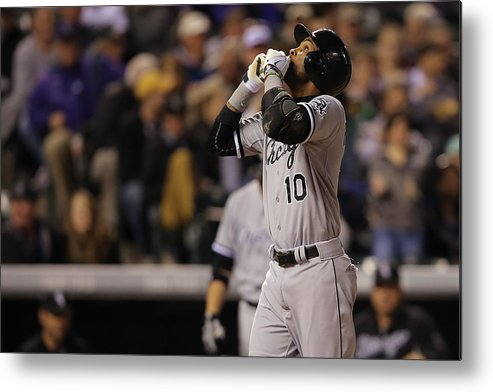 American League Baseball Metal Print featuring the photograph Wilton Lopez and Alexei Ramirez by Doug Pensinger