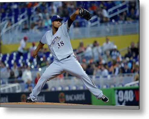 American League Baseball Metal Print featuring the photograph Wily Peralta by Chris Trotman