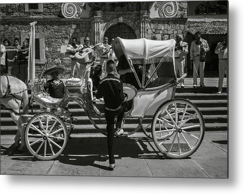Escaramuza Metal Print featuring the photograph Wooden Carriage in Mexico by Dane Strom