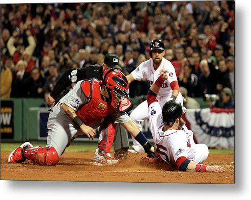 Playoffs Metal Print featuring the photograph Yadier Molina and Jonny Gomes by Rob Carr