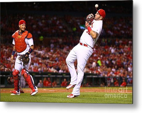 St. Louis Cardinals Metal Print featuring the photograph Yadier Molina and Matt Adams by Dilip Vishwanat