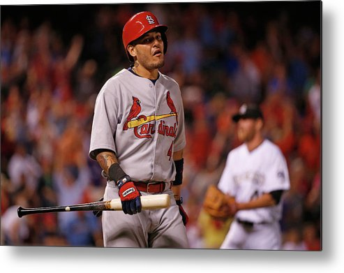 St. Louis Cardinals Metal Print featuring the photograph Yadier Molina and Scott Oberg by Doug Pensinger