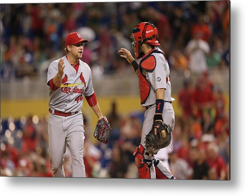 St. Louis Cardinals Metal Print featuring the photograph Yadier Molina And Trevor Rosenthal by Rob Foldy