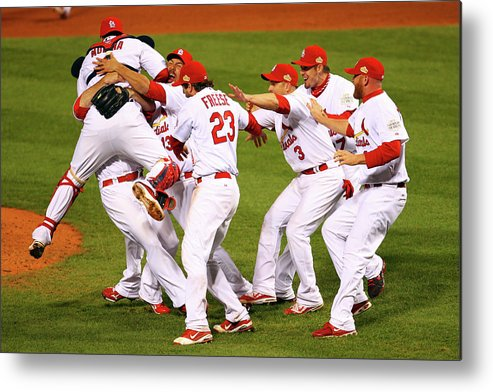 St. Louis Cardinals Metal Print featuring the photograph Yadier Molina, Gerald Laird, and David Freese by Dilip Vishwanat