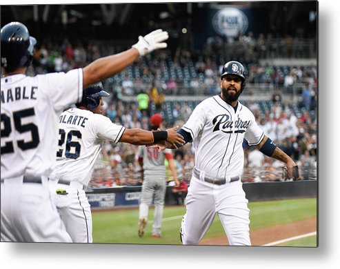 People Metal Print featuring the photograph Yangervis Solarte, Will Venable, and Matt Kemp by Denis Poroy