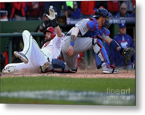 Game Two Metal Print featuring the photograph Yasmani Grandal, Daniel Murphy, and Jayson Werth by Patrick Smith
