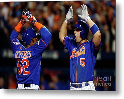 Yoenis Cespedes Metal Print featuring the photograph Yoenis Cespedes, Alex Wood, and David Wright by Mike Stobe
