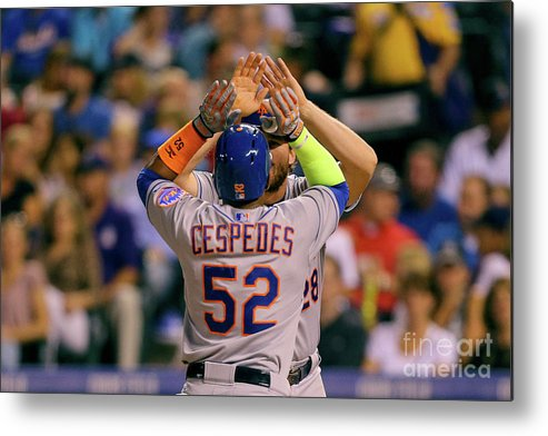 Yoenis Cespedes Metal Print featuring the photograph Yoenis Cespedes and Daniel Murphy by Justin Edmonds