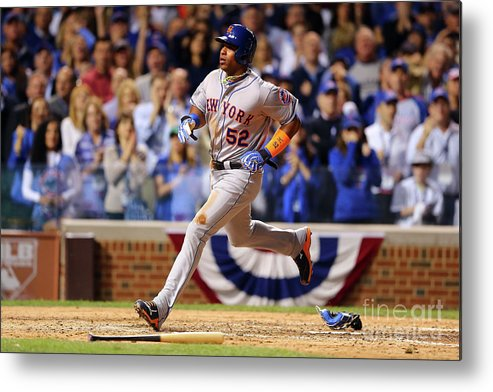 Yoenis Cespedes Metal Print featuring the photograph Yoenis Cespedes and Trevor Cahill by Elsa
