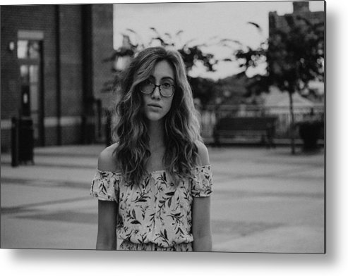 People Metal Print featuring the photograph Young Woman With Eyeglasses by Sarah Somers / EyeEm