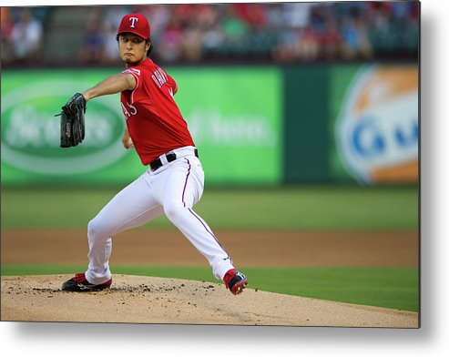 American League Baseball Metal Print featuring the photograph Yu Darvish by Cooper Neill
