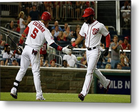 People Metal Print featuring the photograph Yunel Escobar and Denard Span by Rob Carr