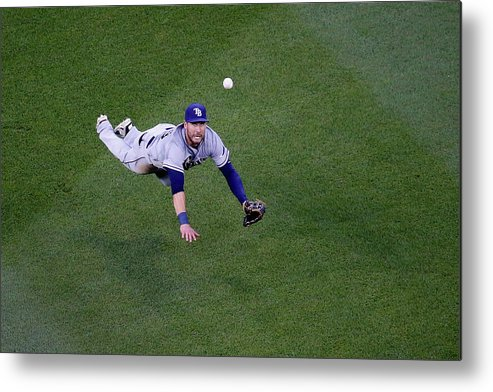 Second Inning Metal Print featuring the photograph Yunel Escobar and Kevin Kiermaier by Rob Carr