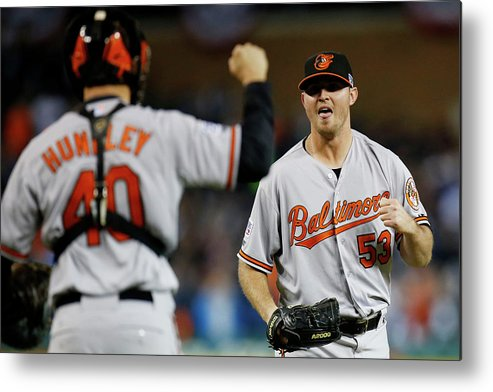 American League Baseball Metal Print featuring the photograph Zach Britton and Nick Hundley by Gregory Shamus