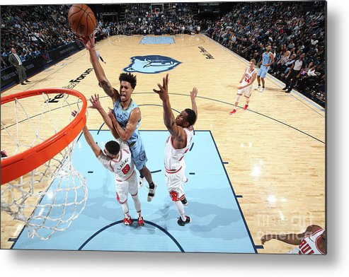 Chicago Bulls Metal Print featuring the photograph Zach Lavine and Thaddeus Young by Joe Murphy