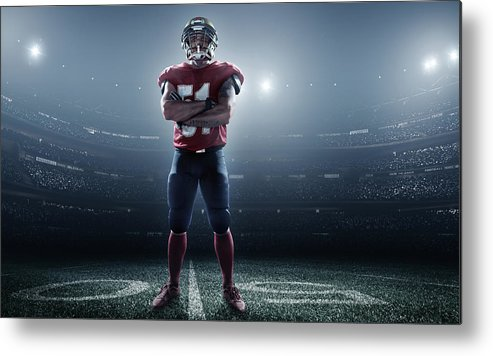Soccer Uniform Metal Print featuring the photograph American Football In Action by Dmytro Aksonov