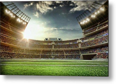 Empty Metal Print featuring the photograph American Football Stadium by Dmytro Aksonov