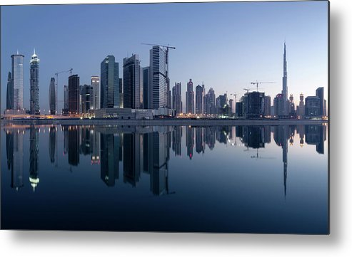 Tranquility Metal Print featuring the photograph Dubai Business Bay Skyline With by Spreephoto.de