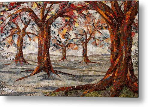 Trees Metal Print featuring the tapestry - textile Interwoven by Linda Beach