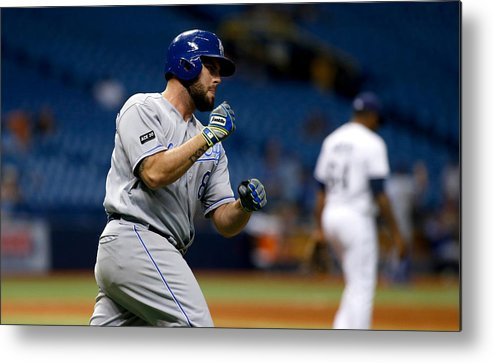 Three Quarter Length Metal Print featuring the photograph Kansas City Royals v Tampa Bay Rays by Brian Blanco