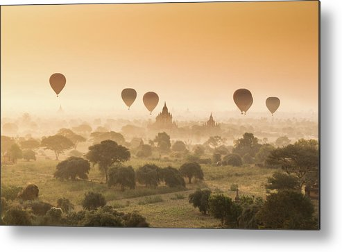Tranquility Metal Print featuring the photograph Myanmar Burma - Balloons Flying Over by 117 Imagery