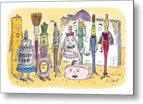Art Metal Print featuring the drawing New Yorker December 15th, 1997 by Roz Chast