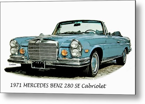 Mercedes Benz Metal Print featuring the digital art Cabriolet by Larry Linton