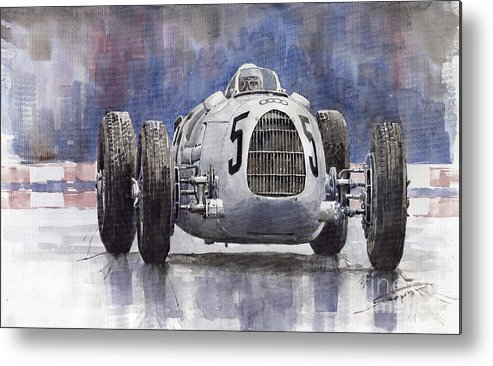 Auto Metal Print featuring the painting Auto-Union Type C 1936 by Yuriy Shevchuk