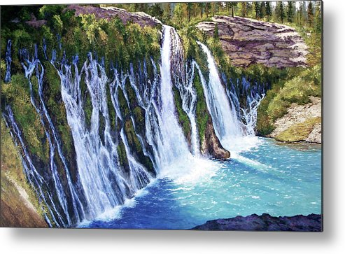 Burney Falls In Northern California Metal Print featuring the painting Burney Falls by Donald Neff