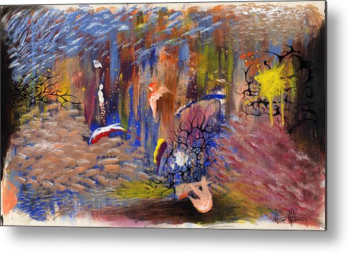 Abstract Metal Print featuring the painting Confrontation by Nathaniel Hoffman