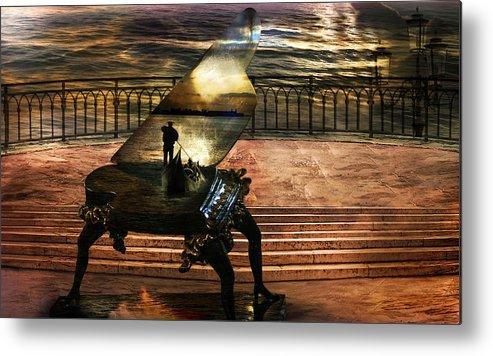 Gondola Piano Spells Journey Surrealism Terrace Gondolier Romantic Sea Red Fantastic Enchanted Alien Metal Print featuring the photograph Gondolier sonata by Desislava Draganova