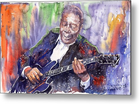 Jazz Metal Print featuring the painting Jazz B B King 06 by Yuriy Shevchuk