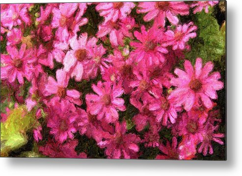 Impressionism Metal Print featuring the photograph Red Daisy, Champaign IL by Michael Bessler