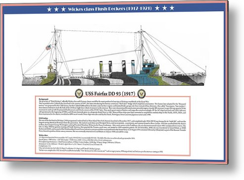 Destroyer Metal Print featuring the painting USS Fairfax DD 93 by The Collectioner