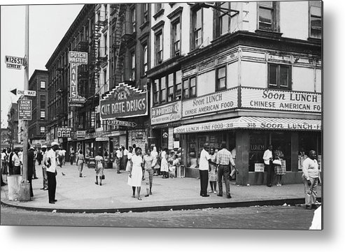 Pedestrian Metal Print featuring the photograph 125th & Lenox, 1963 by Fred W. McDarrah