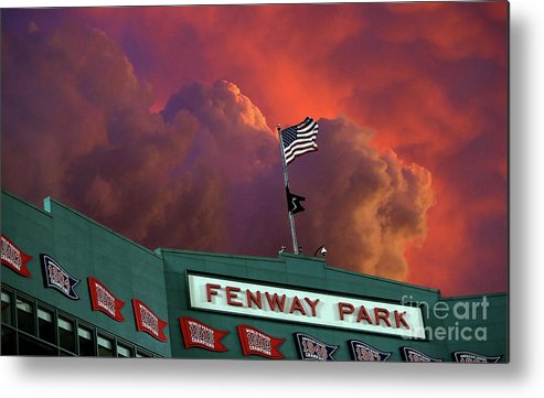 American League Baseball Metal Print featuring the photograph Baltimore Orioles V Boston Red Sox by Jim Rogash