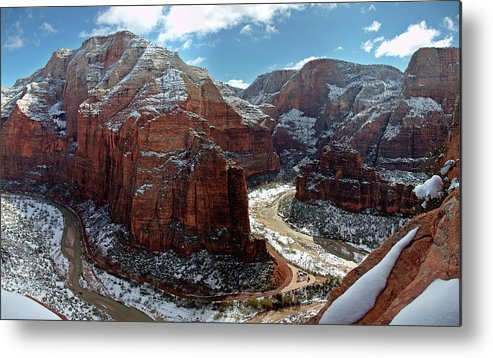 Scenics Metal Print featuring the photograph Angels Landing View From Top by Daniel Osterkamp