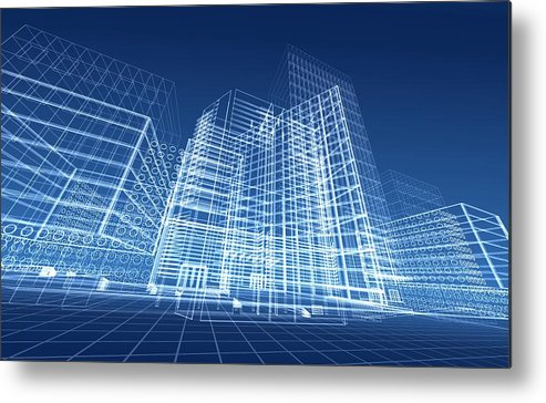 Plan Metal Print featuring the photograph Architectural Blueprint Designs For by Dinn