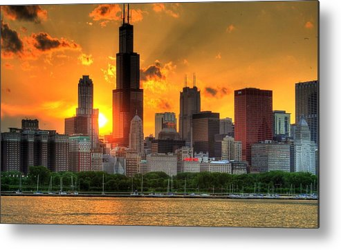 Tranquility Metal Print featuring the photograph Hdr Chicago Skyline Sunset by Jeffrey Barry