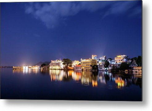 Tranquility Metal Print featuring the photograph Pichola Lake Night View by Greenlin